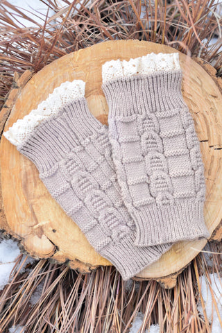 Beige Knitted Boot Cuffs With Lace Trim