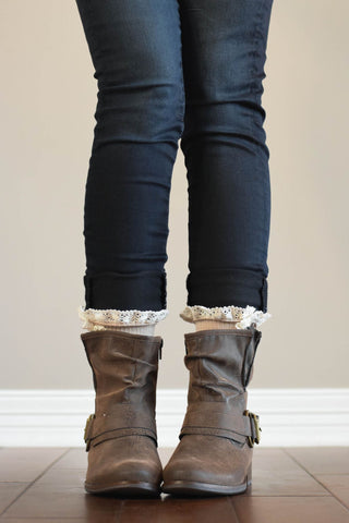 Beige Boot Cuffs with Buttons