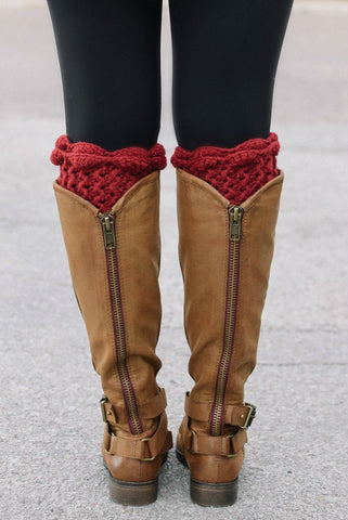 Berry Scalloped Lace Boot Cuff - Handmade