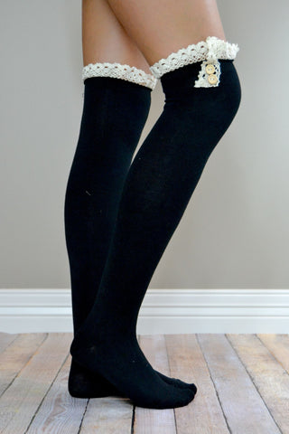 Black Over-the-Knee Antique Lace and Button Boot Socks