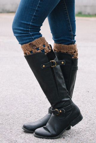 Caramel Checkered Boot Cuffs with Buttons