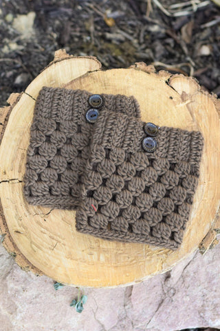 Brown Checkered Boot Cuffs with Buttons