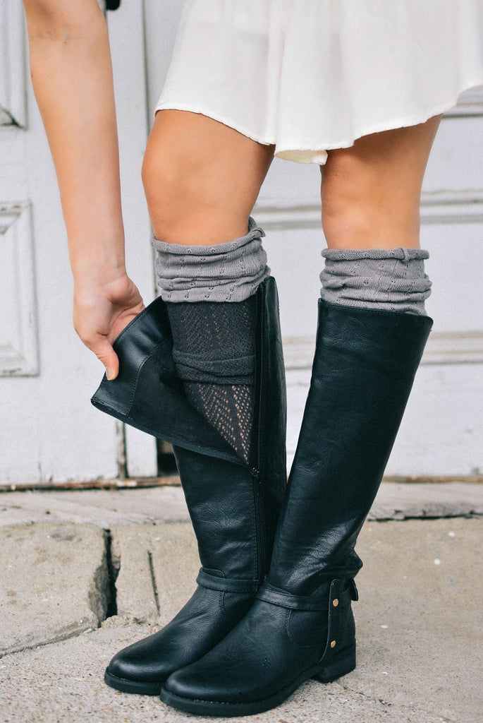 Charcoal & Cool Grey Color Block Knee-High Boot Socks (*NEW*)