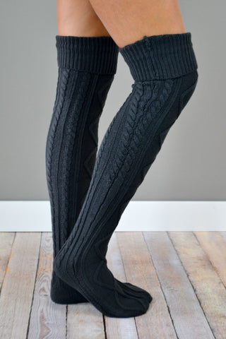 Charcoal Diamond Cable Knit Boot Socks