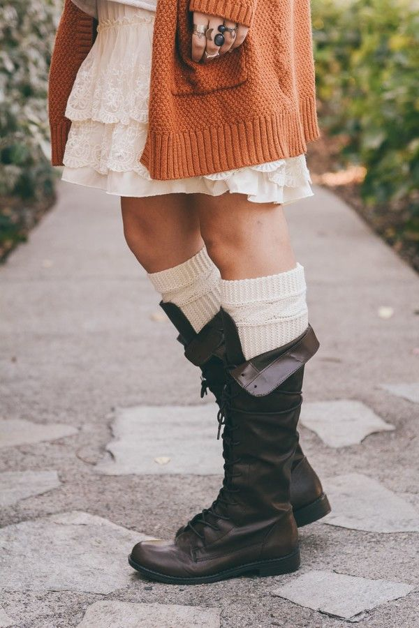 Crested Butte Cream Cable Ribbed Knit Boot Cuffs