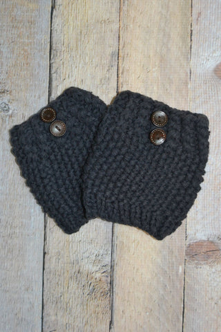 Crocheted Charcoal One Button Boot Cuff