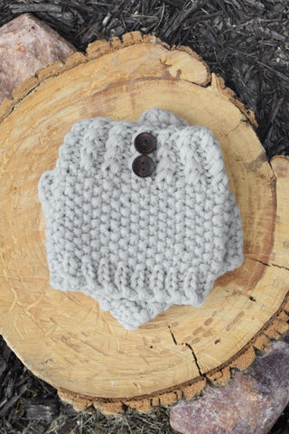 Crocheted Grey Button Down Boot Cuff - Handmade