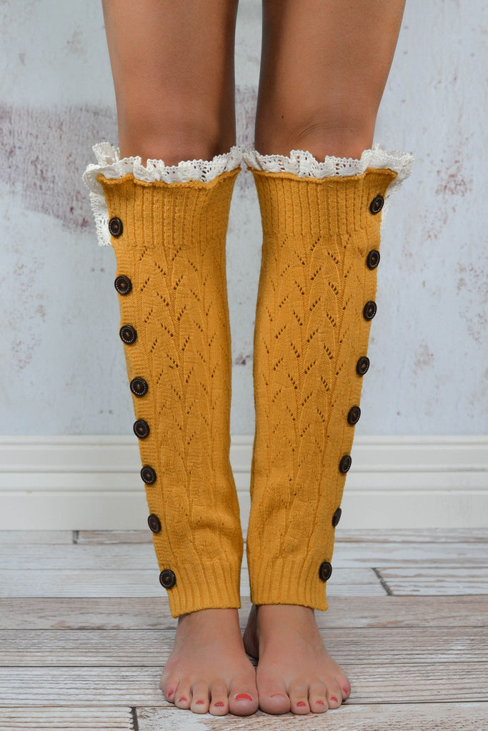 Mustard Button Down Leg Warmers with Lace Trim