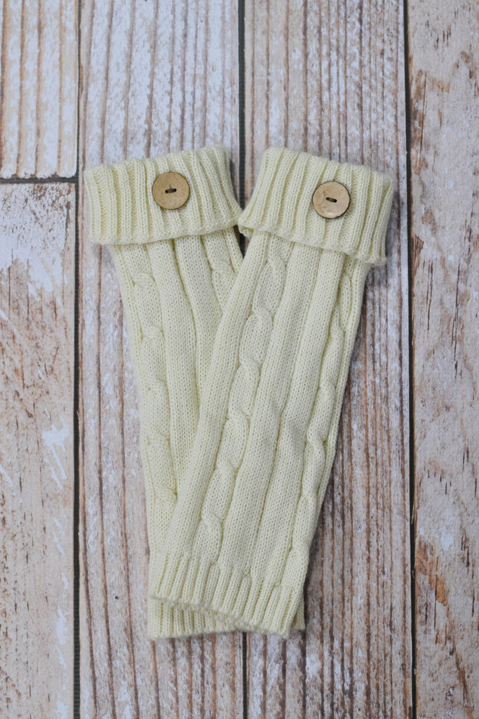 Ivory Cable Knit Leg Warmers with Button