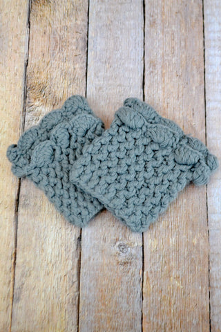 Grey Scallop Crochet Boot Cuff - Handmade