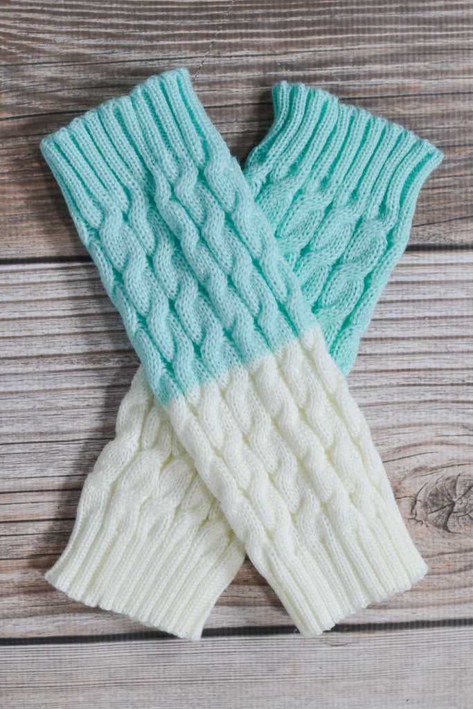 Mint and Ivory Reversible Knitted Boot Cuffs