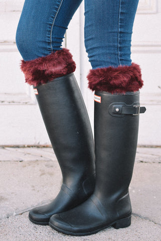 Alaska-Inspired Maroon Boot Cuffs with Fur Topper