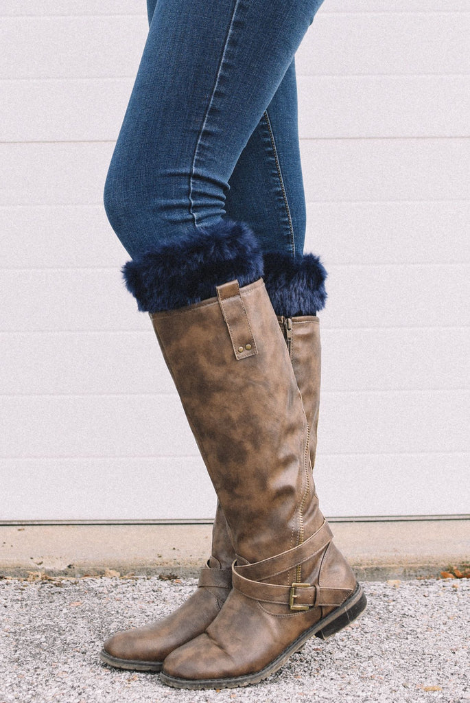 Alaska-Inspired Navy Boot Cuffs with Fur Topper