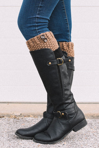 Crocheted Brown Button Down Boot Cuff - Handmade
