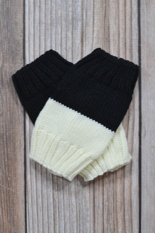 Classic Black and Ivory Reversible Boot Cuffs