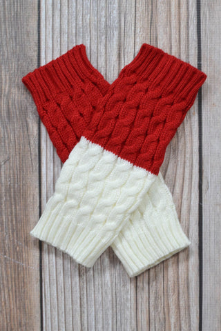 Red and Ivory Reversible Knitted Boot Cuffs
