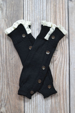 Black Lace Button Down Boot Cuffs