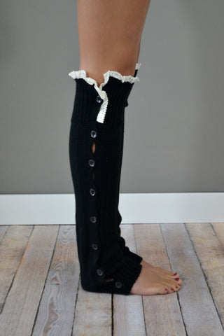 Black Button Down Leg Warmers with Lace Trim