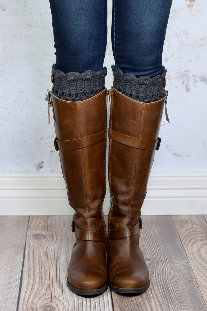 Charcoal Scalloped Boot Cuffs with Button