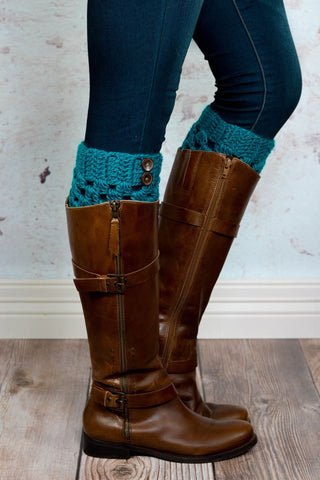 Teal Checkered Boot Cuffs with Buttons