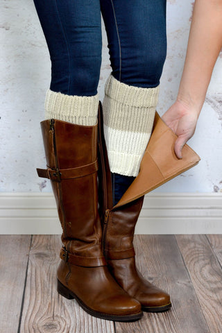 Classic Oatmeal and Ivory Reversible Boot Cuffs