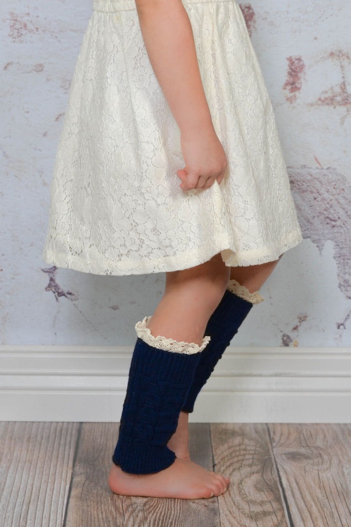 Kids Navy Knitted Leg Warmers with Lace Trim