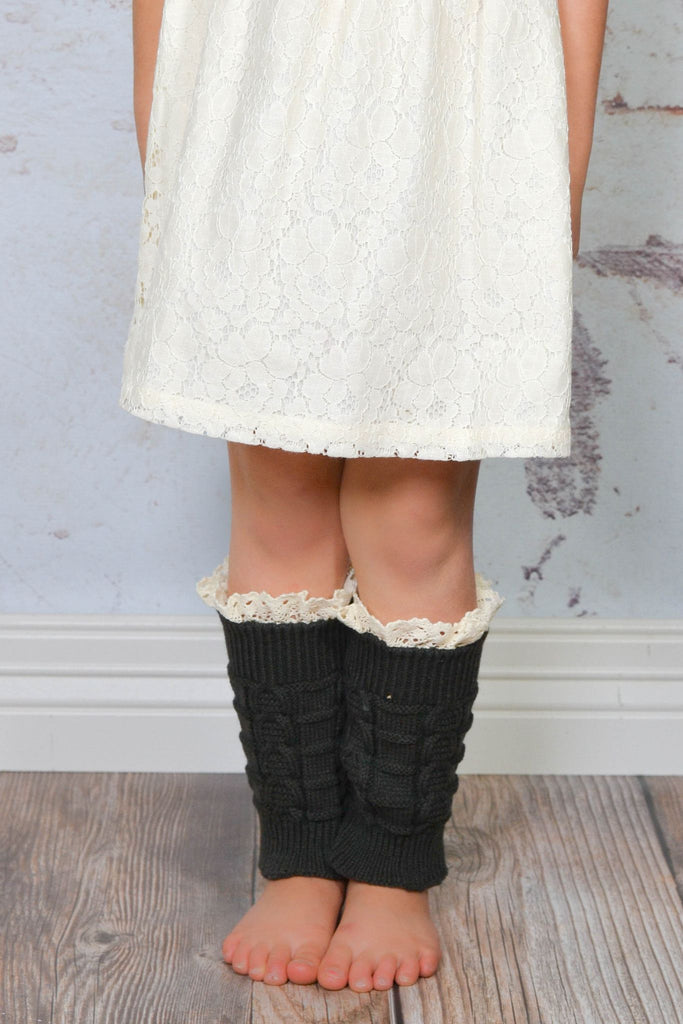 Kids Charcoal Knitted Leg Warmers with Lace Trim