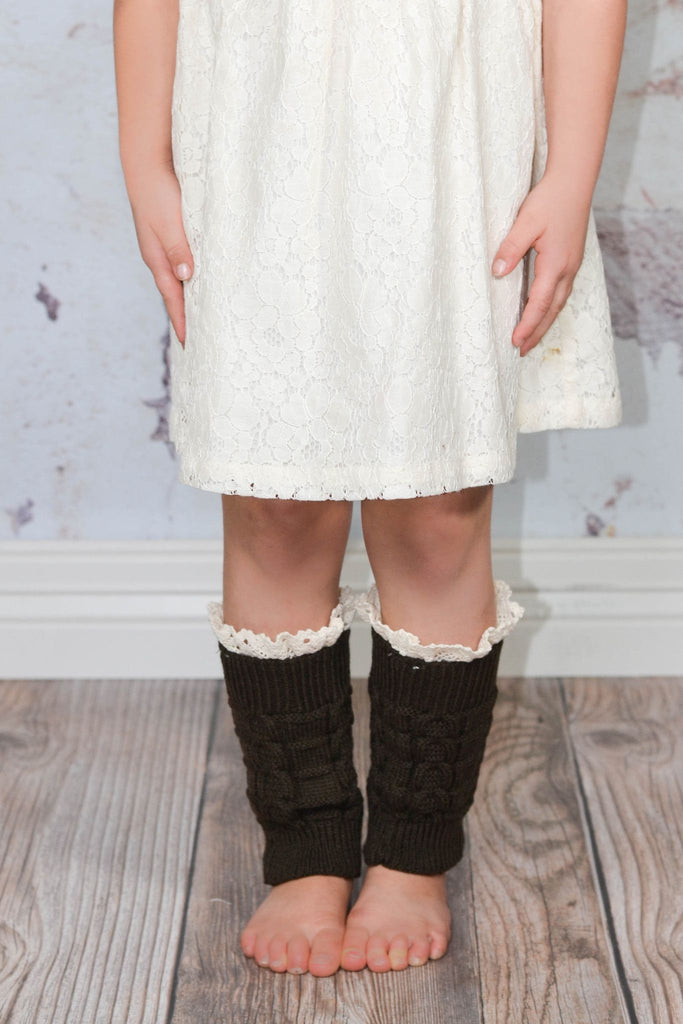 Kids Coffee Knitted Leg Warmers with Lace Trim