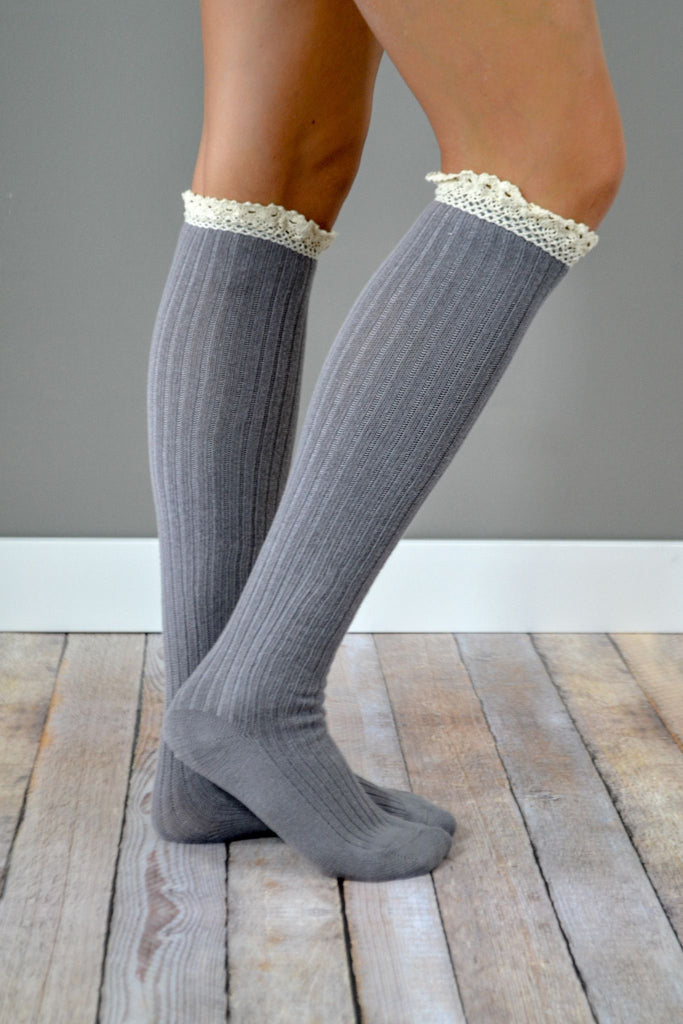 Grey Lace Trimmed Boot Sock
