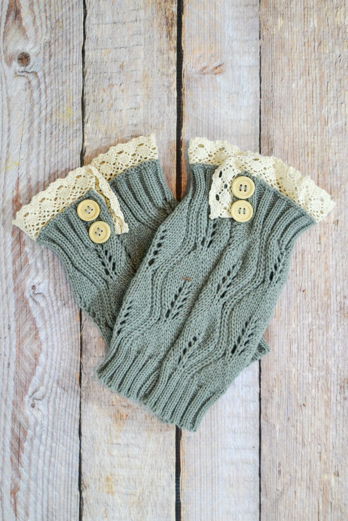 Grey Knitted Boot Cuffs with Button