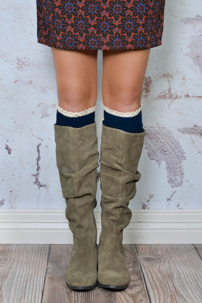 Navy Knitted Boot Cuffs With Lace Trim