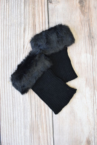 Alaska-Inspired Black Boot Cuffs with Fur Topper
