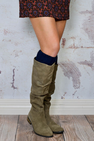 Classic Navy and Ivory Reversible Boot Cuffs