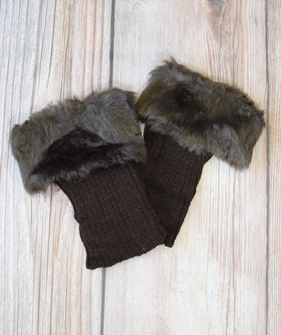 Alaska-inspired Brown Boot Cuffs with Fur Topper
