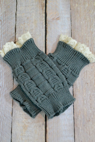 Kids Dark Grey Knitted Leg Warmers With Lace Trim