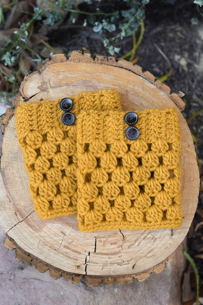 Mustard Checkered Boot Cuffs with Buttons