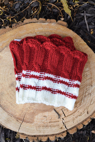 Candy Cane Red and Cream Scalloped Stripe Boot Cuffs