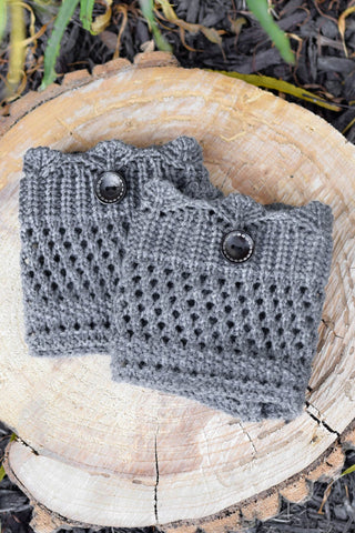 Grey Crochet One Button Boot Cuffs