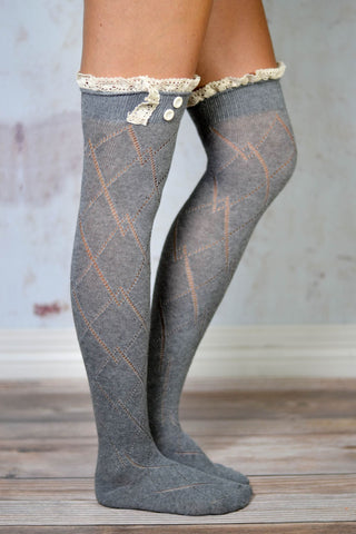 Grey Thigh High Boot Socks with Lace Trim