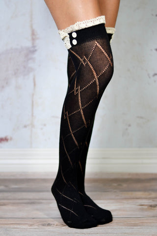 Black Thigh High Boot Socks with Lace Trim