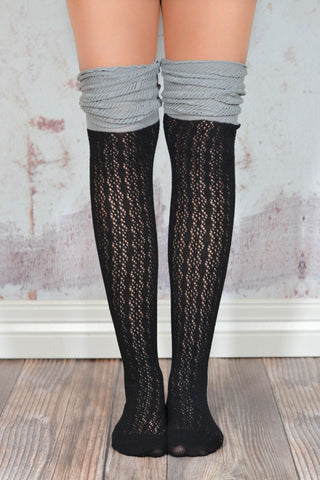 Black and Grey Slouchy Two Toned Boot Socks