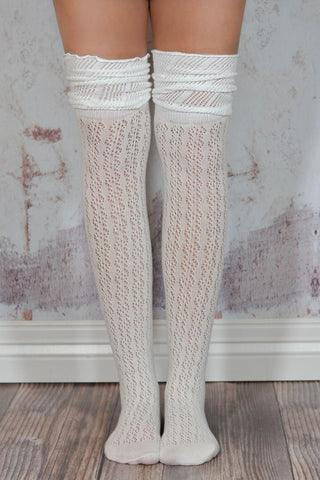 Tan and Ivory Slouchy Two Toned Boot Socks