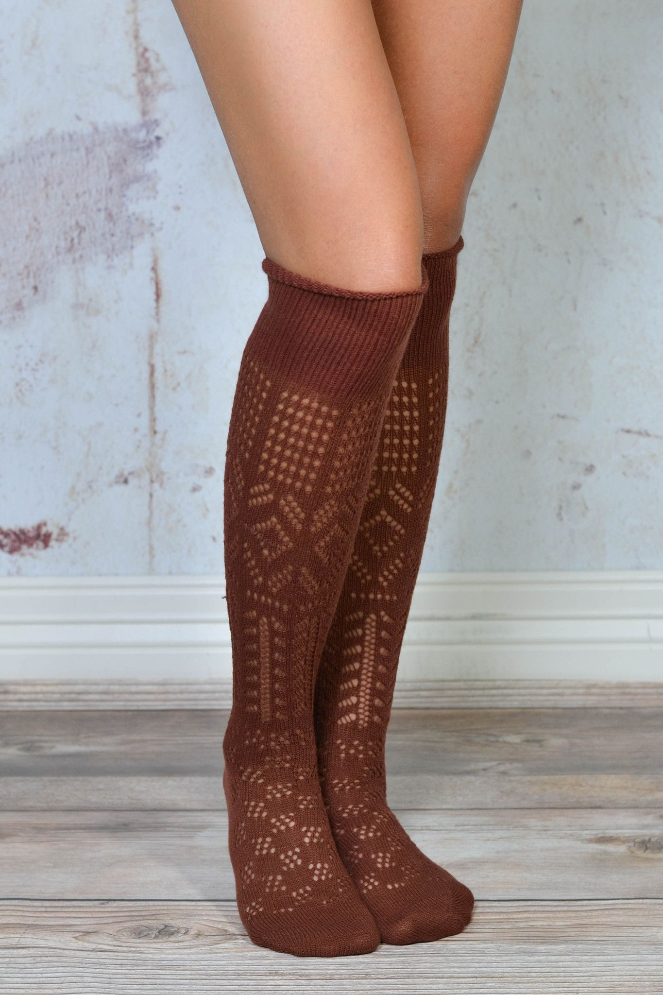 patterned thigh high boots