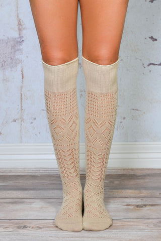 Khaki Thigh High Patterned Boot Socks