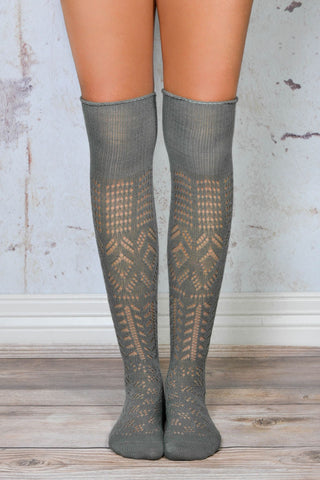 Grey Thigh High Patterned Boot Socks