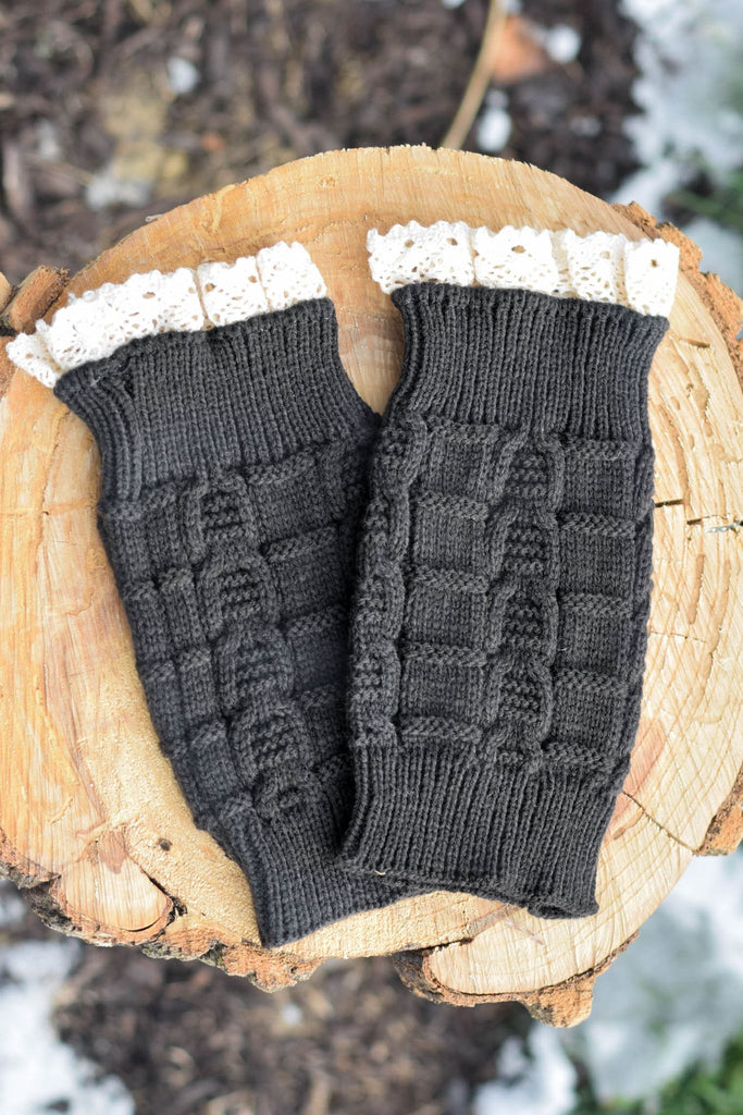 Charcoal Knitted Boot Cuffs