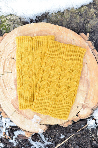 Mustard Cable Knit Boot Cuffs