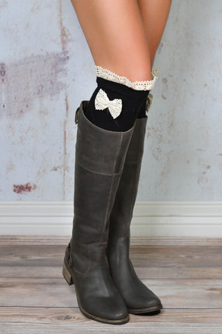 Ottawa Black Crochet Bow Lace Boot Socks