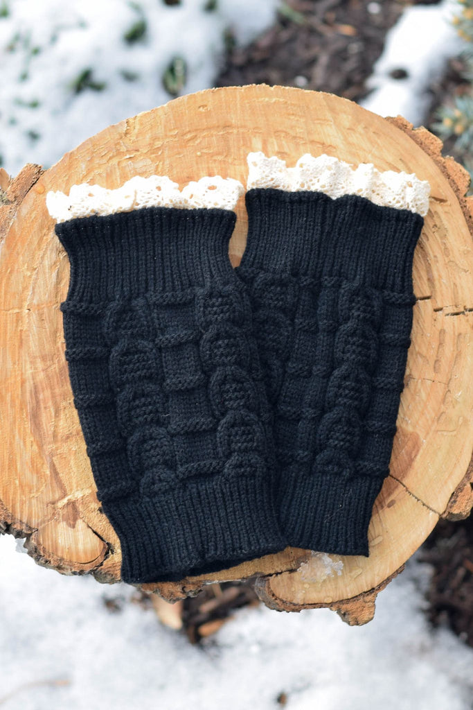 Black Knitted Boot Cuffs