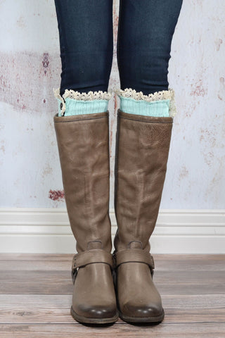 Mint Lace Button Down Leg Warmers